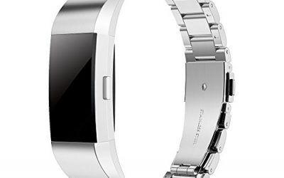Simpeak Correa Compatible Fit bit Charge 2 (5.5-8.1 Pulgadas), Correa de Acero Inoxidable Reemplazo Wristband Pulseras de Repuesto Bandas Fit bit Charge 2 Fitness,Plata