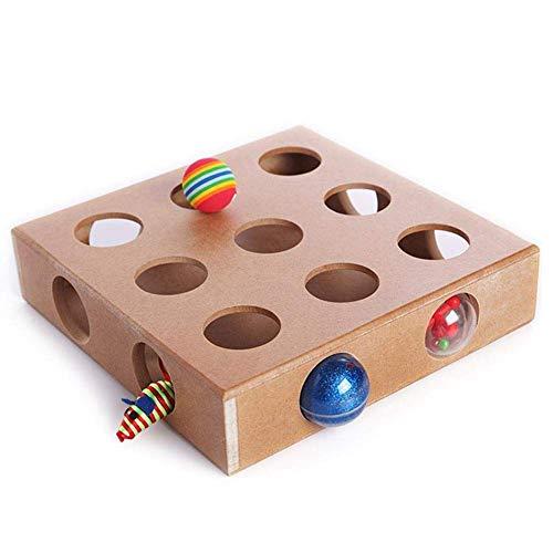 Nrpfell Juguete Interactivo Cat Puzzle Box, Peek de Madera Jugar Toy Box, Hide & Seek Ratones Gato de Juguete Y Juegos Alimentador Adorables Juguetes del Gato