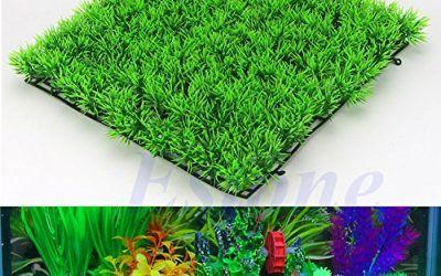 Xuniu Planta de Agua Artificial, Planta acuática Verde césped césped Acuario pecera decoración (25x25x3.5cm)