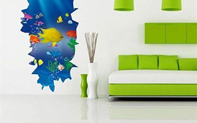 3D Underwater World Ocean Animal Underwater Fishs Baño Cocina Pegatinas de pared para habitaciones de niños Acuario Nursery Room Decor 60×30 cm