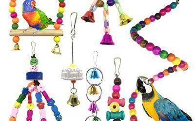 Juguetes para Pájaros, PietyPet 8 Piezas Pájaros Juguetes con Campanas, Escalera de madera, Colorido Columpio Juguetes, Hamaca de Madera, Que cuelga la Perca Juguete para Pájaros, Loros