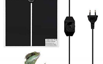 Surenhap Heating Mat Terrario, Pet Terrarium Heating Calefactor Reptil Anfibios con Enchufe de la UE y Controlador de Temperatura Ajustable Chapa térmica Heat Mat Reptiles – 14W, 28 * 28CM