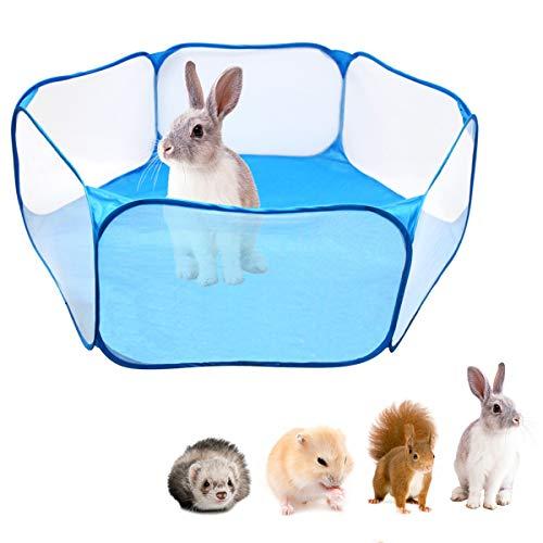 """Tienda de jaula plegable para animales pequeños 47.2 """", cerca transpirable y transparente para mascotas, parque infantil Pop Open para interiores y exteriores, cerca de patio para cobayas, conejos"""