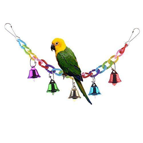Keersi Columpio Colorido con Campanas para pájaros , mascotas