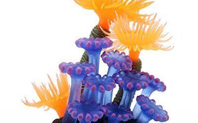 Coral Artificial, Planta de simulación Silicona Luminosa Anémona de mar de Coral para decoración de Paisaje de Acuario de Peces Adornos