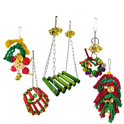Camiter – Juego de 5 Piezas de Jaula de Loro para Mascotas, Perros, Loros, Loros, Loros, Loros, Loros, guacamayos, periquitos, cacatúas, cacatúas, Conos, cacatúas, decoración de Navidad