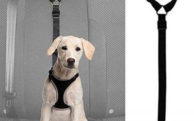 SODIAL Traílla Arnés para Cinturón de Asiento de Coche Ajustable de Seguridad para Perro Gato Mascota Plomo Correa de Clip de Viaje