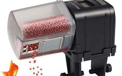 Lychee Alimentador Automático de Peces,170ML Multifuncional Comedero Peces Automático con Pantalla LCD para Acuario, Tanque de Peces y Tortuga