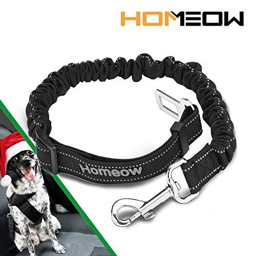 HOMEOW Cinturón Perro Coche de Seguridad Transportar Mascotas Gato para Viaje Multifunción Cinturón Ajustable elástico de Nylon Negro
