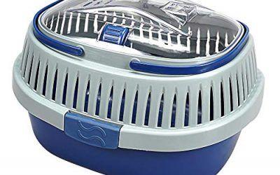 DZL® Transportín Conejos 32,5X27X21CM caseta roedores pequeñas plásticas transportín cobaya con 2 Asas (Azul Oscuro)