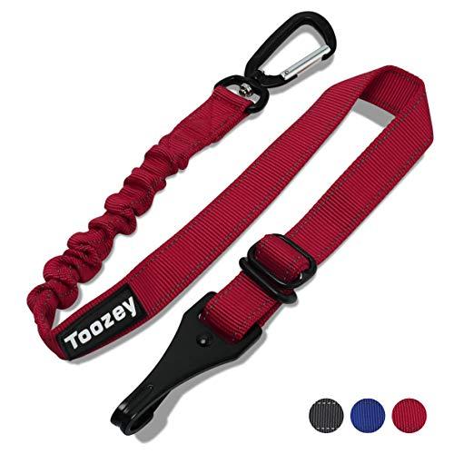Toozey Arnés de seguridad para perros Cinturón de seguridad ajustable para el automóvil con Isofix, mosquetón profesional y amortiguación elástica, para todas las razas de perros y gatos, rojo
