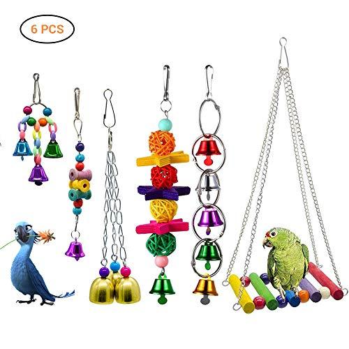 Hihey Bird Loros Juguetes Colgando Bell Pet Jaula de Aves Hamaca Columpio Colgando de Juguete para Periquitos Pequeños Guacamayos Loros Amor Aves Finches 6 unids