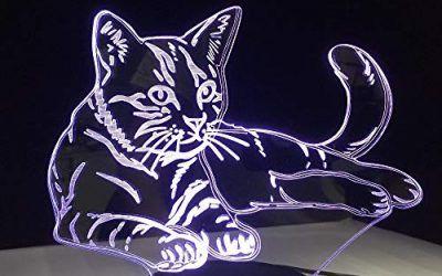 Acostado gato cómodo 3D luces LED Acrílico noche luz USB táctil luz niños linda noche dormitorio luces casual 7 regalos coloridos