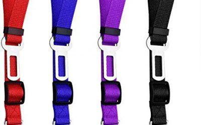 Thursday April 4 Pcs Cinturón de Seguridad para Perros y Gatos Cables de Seguridad Ajustables Arnés del Vehículo Vehículo Tether del Asiento Tela de Nylon