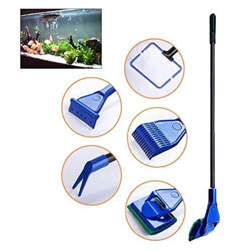 UEETEK 5 en 1 Acuario Completo Fish Tank Clean Set Red de pescado + rastrillo + rascador + tenedor + esponja