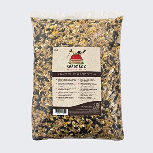 Seedzbox Súper Lujosa Mezcla de Semillas para Aves Salvajes, Bolsa de 2kg, Comida para Pájaros
