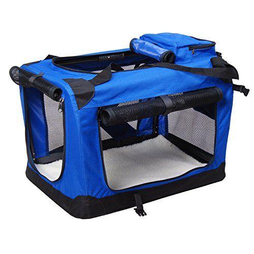 Bolsa de Transporte Perros Gatos Mascotas Viaje Tubo de Acero 4 Entradas, Medidas 60 x 42 x 42 cm, Color Azul/Negro, Pawhut