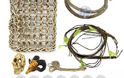 21 piezas accesorios decoración de hábitat para reptiles, hamaca de dragón PietyPet hamaca de arpillera natural con vides artificiales de escalada y pequeño esqueleto de cráneo de oveja artificial