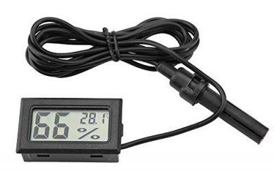 FTVOGUE Mini higrómetro de termómetro LCD Integrado con sonda Externa para incubadoras, incubadoras, Tanque de Reptiles, Acuario, Tanque de Peces