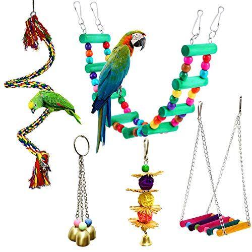 Juego de 5 piezas de perchas para pájaros con forma de campana para colgar, juguetes para masticar, escalera de madera, hamaca para loros pequeños y medianos, cacatúas, conuras, guacamayos, pinzones