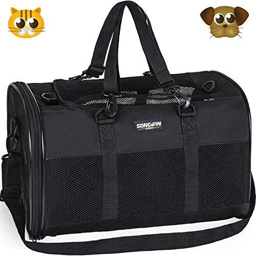 Songwin Trasportin Gato Grande Trasportines Perro Bolsa de Tela Transporte para Gato y Animales Viaje Bolso para Coche (negro,L)
